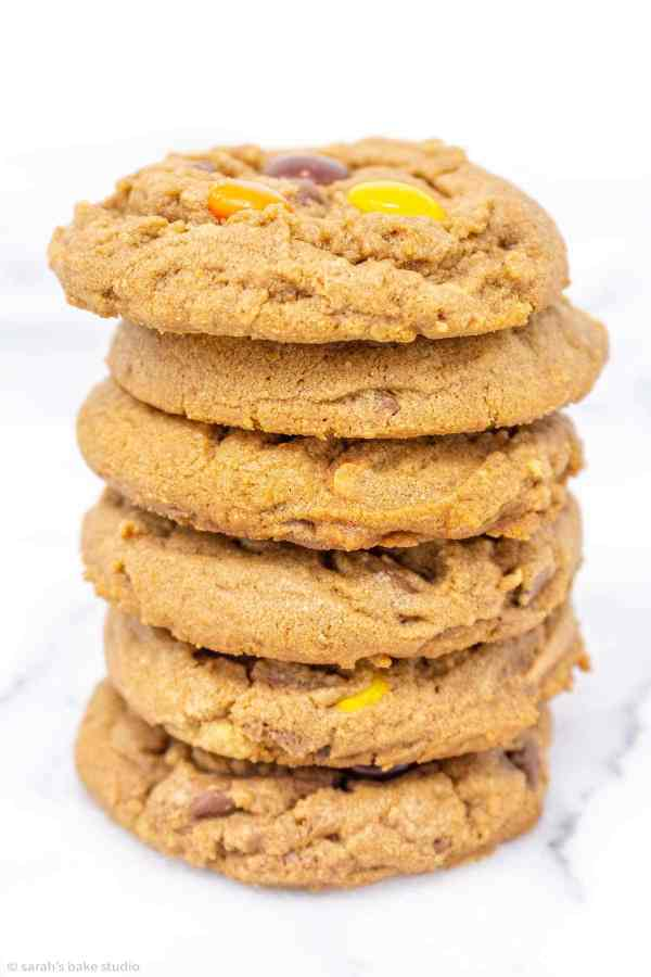 Soft and chewy chocolate peanut butter cookies loaded with Reese's Pieces, Reese's Peanut Butter Cups and chocolate chips.