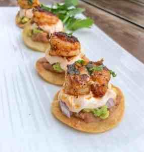 Bite sized shrimp tostadas