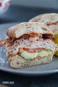 A sandwich made with avocado, tomato, turkey, and bacon