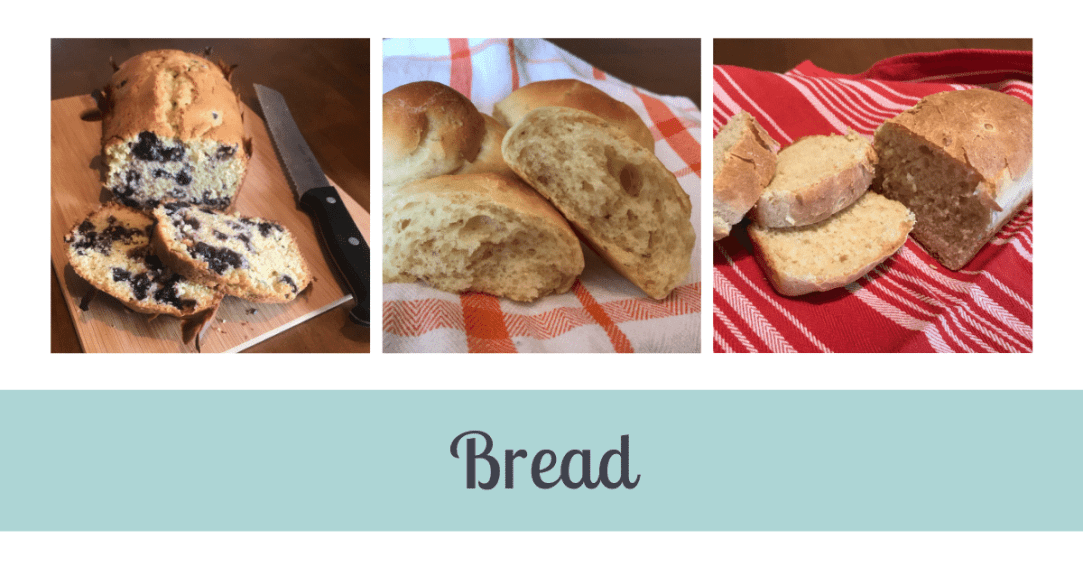 Three images. First is a loaf of sliced blueberry bread. Second is a batch of rolls. Third is sliced white bread. Text under the images says Bread.