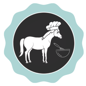Drawing of a horse wearing a chef hat in front of a bowl with a whisk.