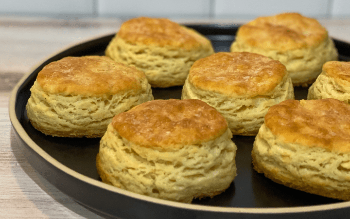 Plate of six biscuits.