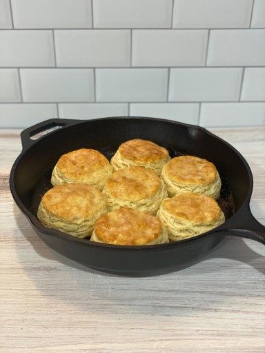 Biscuits in a cast iron skillet.
