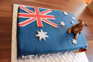 Torte Australienflagge mit Känguru