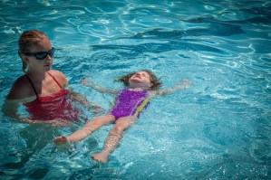 Rory floating at swim lessons