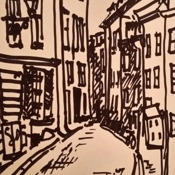 Sketch of street in the Gamla Stan medieval district of Stockholm
