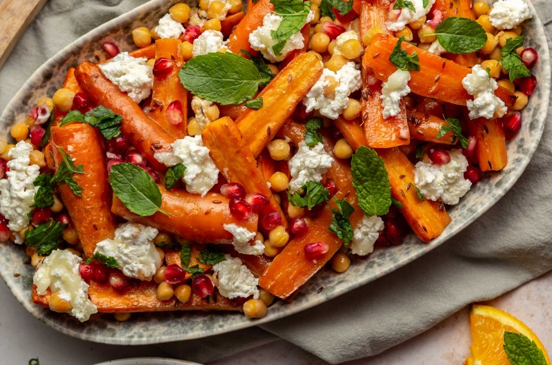 Roasted carrot, chickpea and goats cheese salad