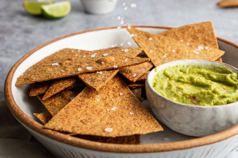 Homemade tortilla chips & avocado dip