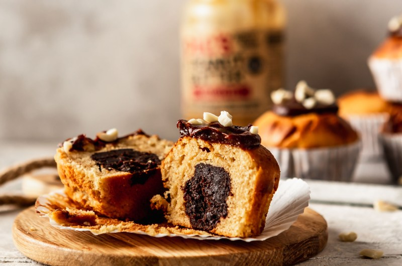 Peanut butter muffins with a chocolate caramel fudge centre