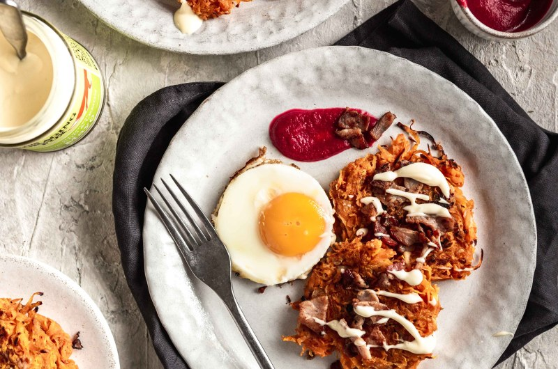 Sweet potato fritters, with crispy bacon and fried egg