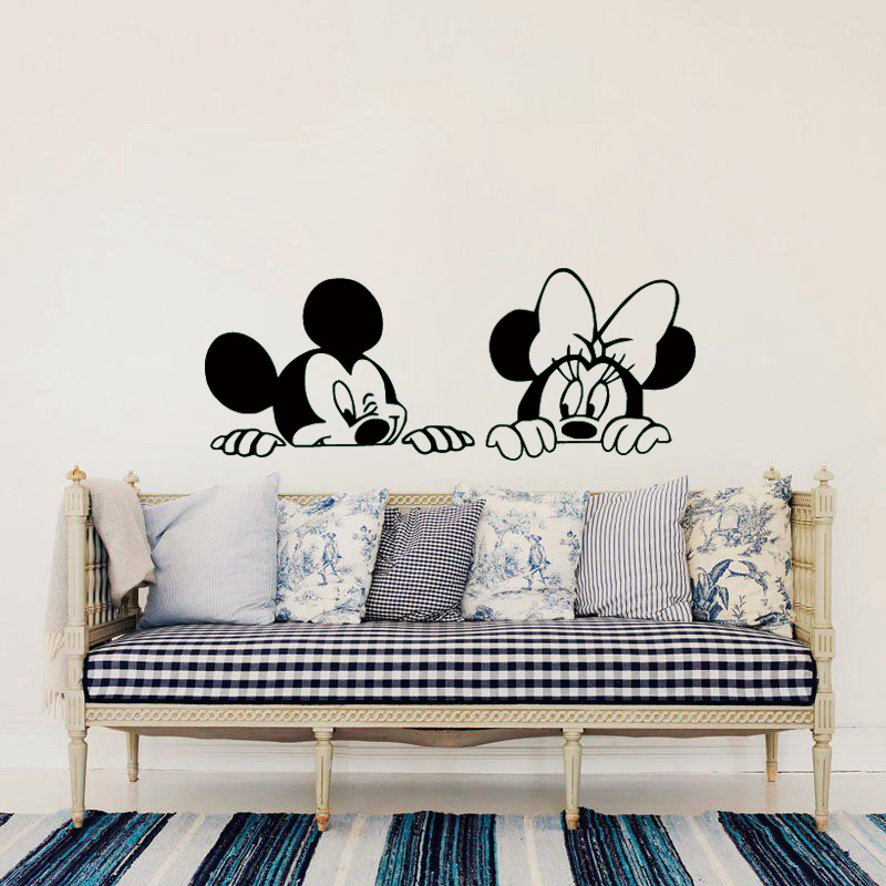 Cut Baby Girl Wallpaper Cartoon Mickey And Minnie Mouse Vinyl Wall Stickers