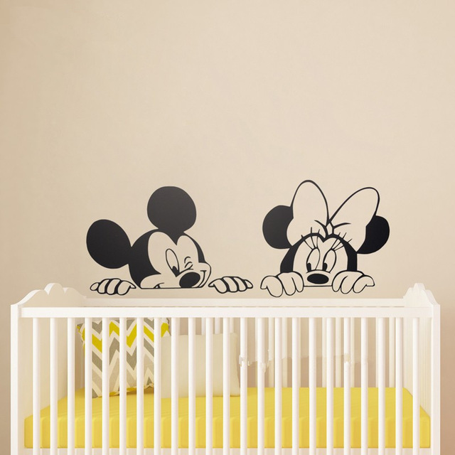 Cute Pink Girl Cartoon Wallpaper Cartoon Mickey And Minnie Mouse Vinyl Wall Stickers