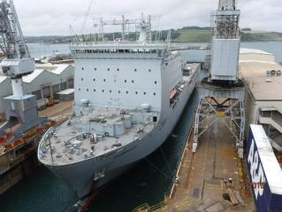 RFA Cardigan Bay in dry dock for a refit,