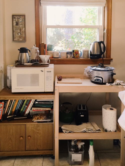 Kitchen with no sink coffee station