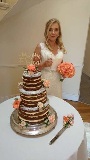 Chocolate Brownie Three Tier Wedding Cake Three Tier Naked Wedding Cake Roses Sarah's Cake Shop Looe