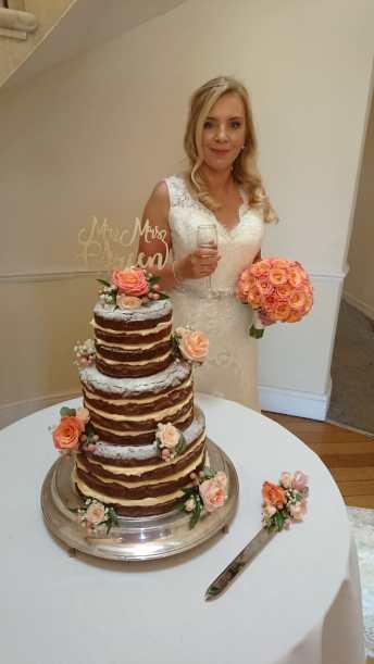Chocolate Brownie Three Tier Wedding Cake Three Tier Naked Wedding Cake Roses Sarah's Cake Shop Looe