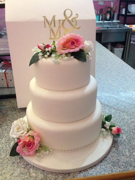 Three Tier Wedding Cake Mr and Mrs Roses Gypsophillia Three Tier Naked Wedding Cake Roses Sarah's Cake Shop Looe