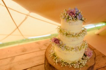 Three Tier Rustic Wedding Cake Flowers Marquee Kilmanorth Cottages Sarah's Cake Shop Looe