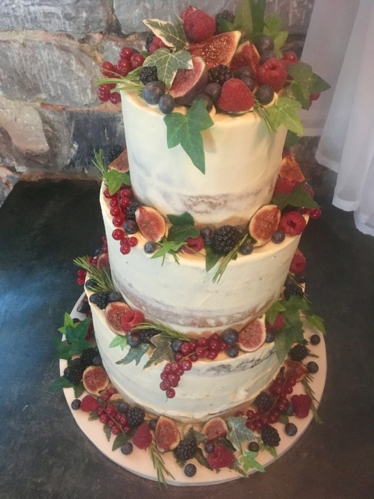 Three Tiwer Wedding Cake Fruit Figs Berries Ivy Buttercream Sarah's Cake Shop Looe