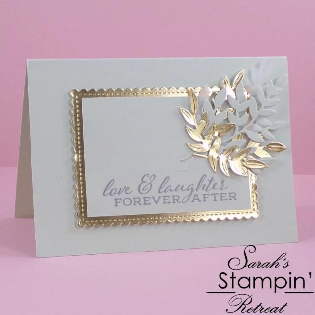 simple elegant handmade wedding card with forever greenery