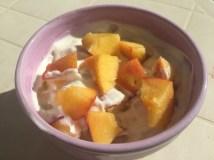 Nectarine and Greek yoghurt (breakfast)