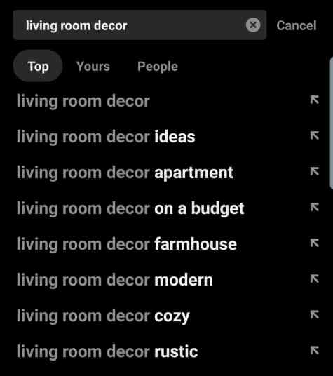 Pinterest Search Suggestions for Living Room Decor