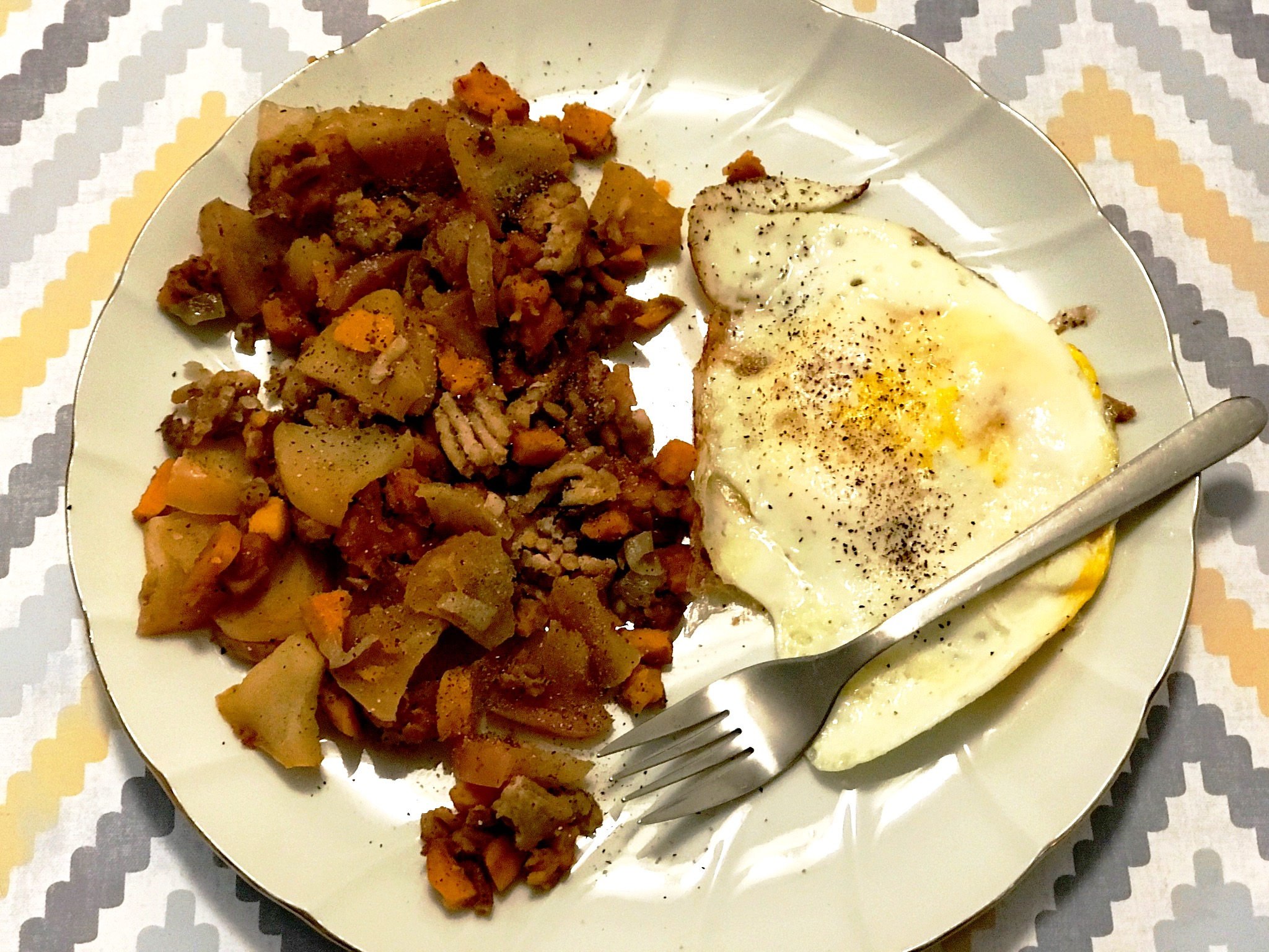 Sweet Potato, Apple, and Chicken Hash