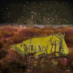 A yellow house rises from a Martian sci-fi landscape
