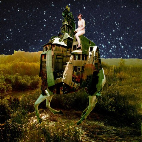 At Night The Clouds Are Forgotton poet sparrow Sarah Zar collage art
