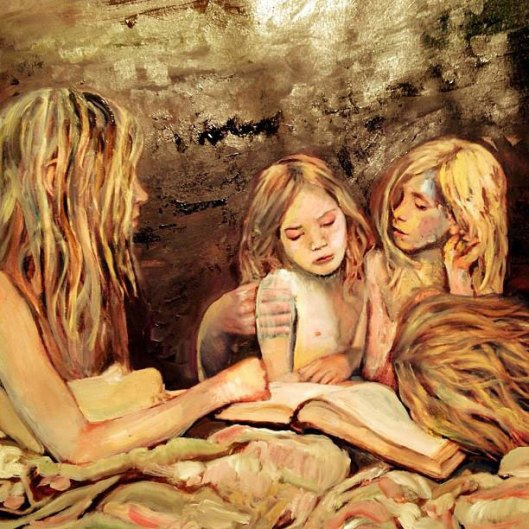 painting of blonde woman and little girls reading