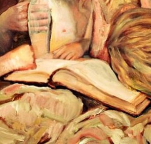 painting of girls with books, art for bibliophiles