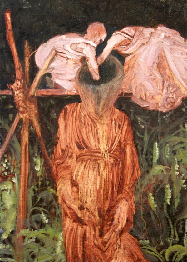 """""""Into the Well"""" is an oil painting on canvas by outsider artists Sarah Zar. To figures reach into the neck of a headless venetian red giant."""