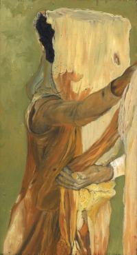 green and orange woman with face covered pulling fabric -Sarah Zar oil paintings