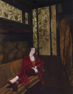 """This is an art history painting called """"Laughing Lonely"""". It shows a beautiful woman in red laughing alone in a dark train car. The dominant colors are scarlet and green."""