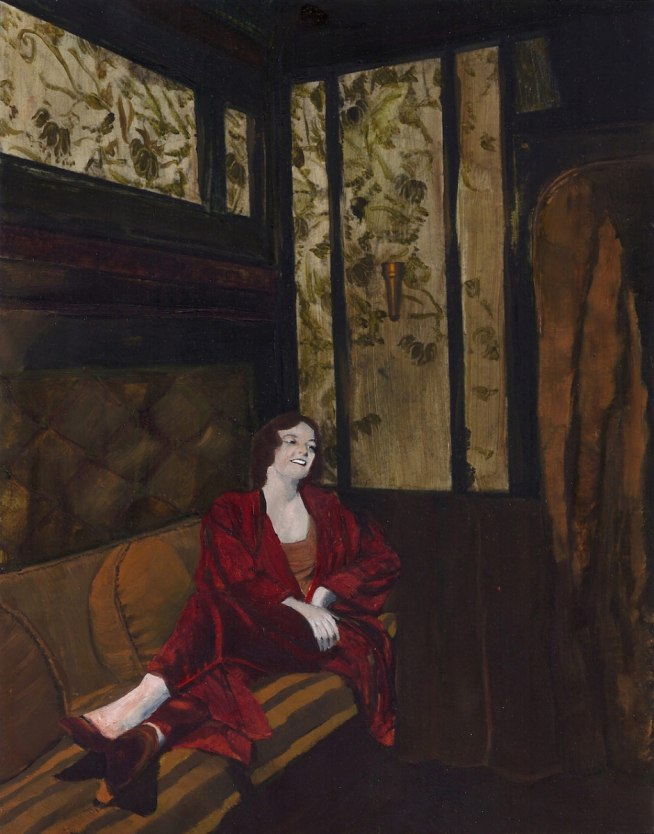 "This is an art history painting called ""Laughing Lonely"". It shows a beautiful woman in red laughing alone in a dark train car. The dominant colors are scarlet and green."