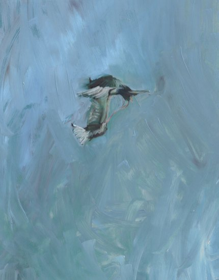 painting of abstract conjoined birds in blue sky