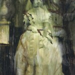 miniature one inch painting of a historic bride