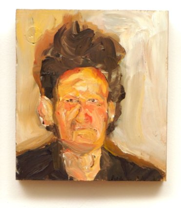 A pink abstract miniature portrait of an Anesthesiologist with crazy hair, reminiscent of Auerbach, by Sarah Zar.