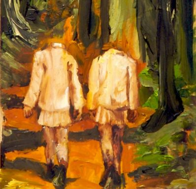 An orange and green oil painting on wood of two headless schoolgirls walking in the forest. Fire Paintings by Sarah Zar.