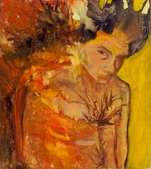 painting of a boy on fire, by Sarah Zar