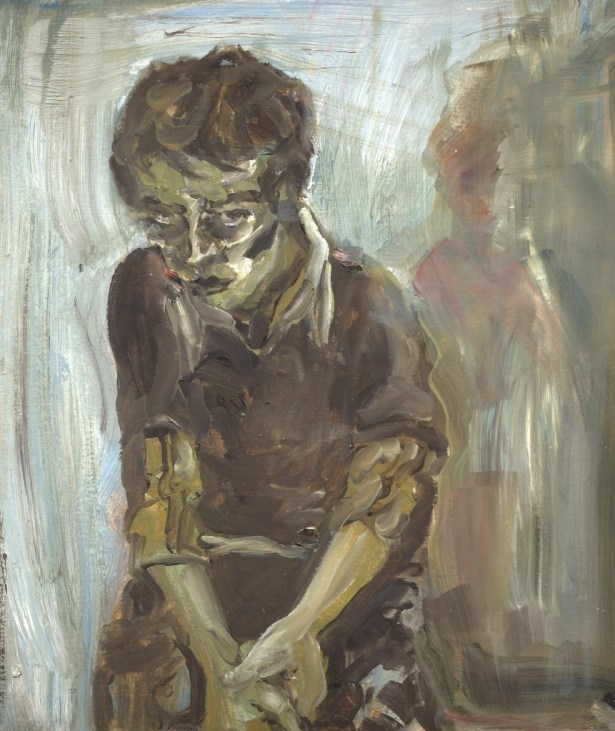 Brutalist oil painting of Carlos Vela-Prado, a blue and brown boy, a rough expressionistic artist portrait.