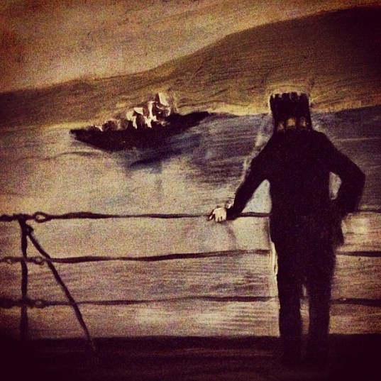 Rook man standing on bridge Sarah Zar oil paintings