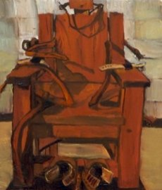 oil painting of a colorful Electric Chair, once used for the death sentence