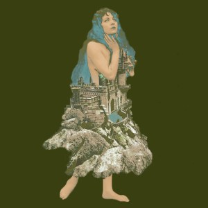 Green Surreal Woman in a river landscape dress - collage by Sarah Zar