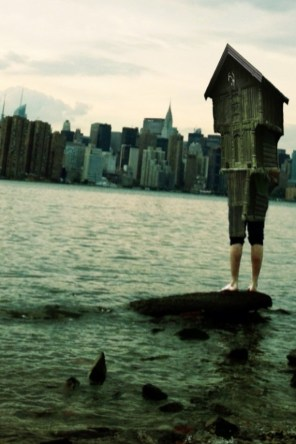 House boy with NYC skyline from Williamsburg, Brooklyn -a Sarah Zar collage