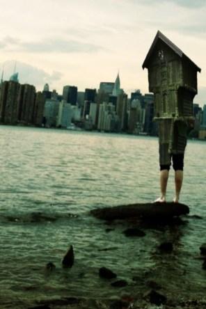 House boy with NYC skyline from Williamsburg, Brooklyn -a Sarah Zar collage