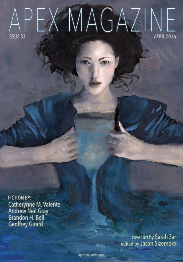 Painting of a blue woman opening her shirt and water pouring out.  Apex Magazine cover art by Sarah Zar.
