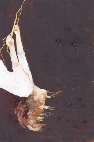 An oil painting on paper of a woman with red hair swinging from a bolt of lightning, by surrealist painter Sarah Zar.
