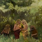 An oil painting of little children collecting wild lightning bolts in nature.