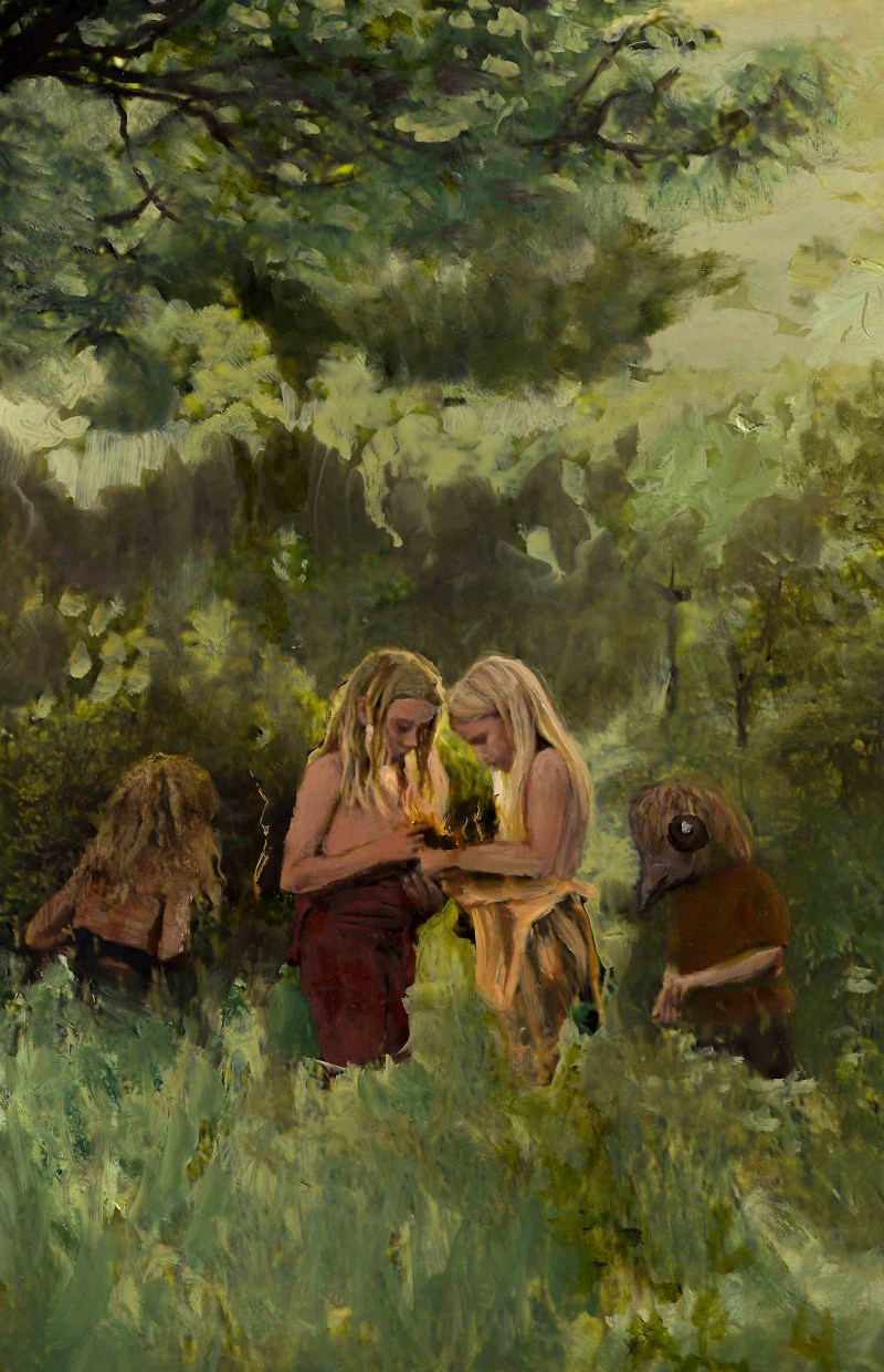 An oil painting of little children collecting wild lightning bolts in nature, by Sarah Zar
